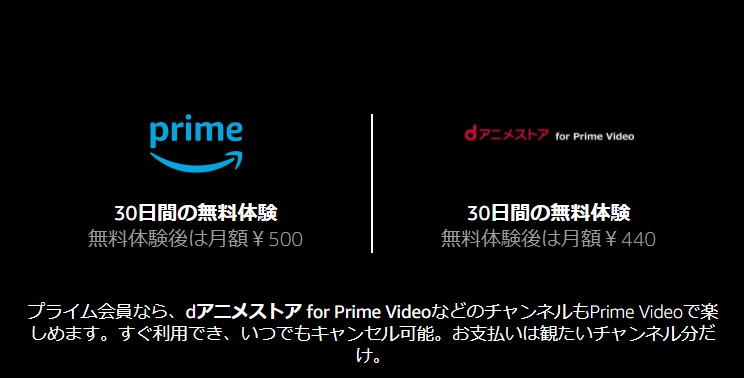 dアニメストアfor Prime Video登録画面