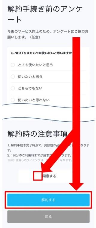 アンケートに解答して下部にある解約するボタンを押す