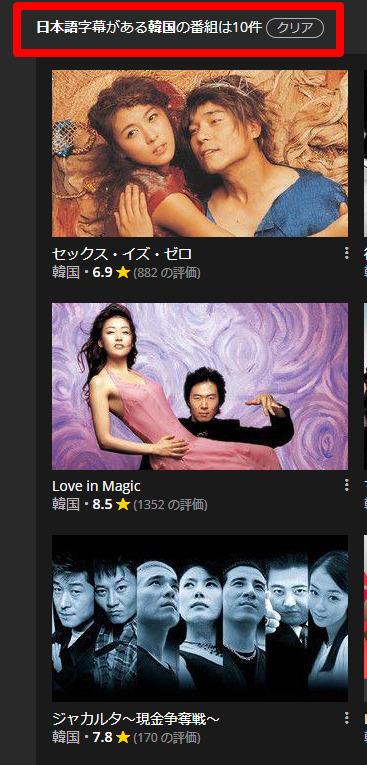 楽天VikiにVPNを利用せずにログインした場合の日本語字幕に対応している韓国ドラマの作品数